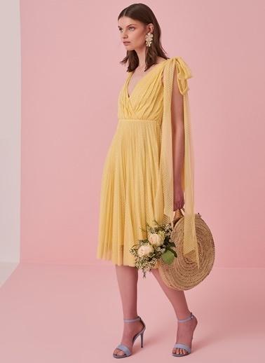 morhipo x dcey Puantiyeli Tül Elbise Sarı